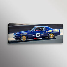 "Vintage Penske Sunoco Camaro Trans-Am Racecar Photo Art Canvas Print 12""x36"""
