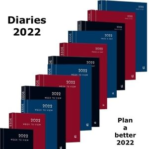 2022 A4, A5, A6 Diary Day A Page & Week To View Desk Diary Hard Backed Dairy