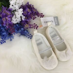 Carters Slip on White Formal Dress Shoes For Infant Soft Soles Size 9-12 months