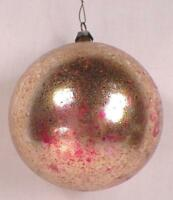 Antique Christmas Ornament Mercury Glass Blown Gold Foil Ball Pink #60