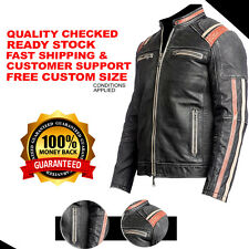 Men MC Vintage Motorcycle Cafe Racer Biker Retro Black Distressed Leather Jacket