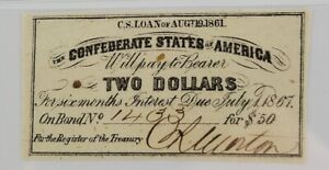 Confederate States of America Bond Coupon $2 Bond for $50 1861 PMG AU 53 EPQ