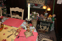 Vintage Angel Cherub Metal Table Lamp-Lovely Details-Religious Lamp-Gold Color