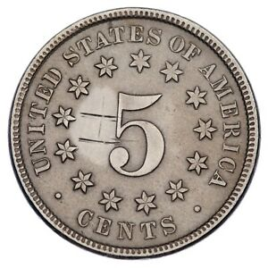1869 Shield Nickel in VF Condition, XF in Wear, Small Graffiti on Reverse