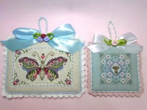 finished completed LOT Of 2 JUST NAN Flying Colors, Daisy cross stitch ornaments