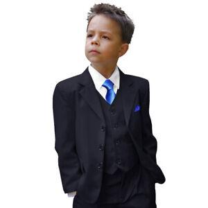 Paul Malone Kinder Anzug Jungen festlich 6tlg - Kommunionanzug blau dunkelblau
