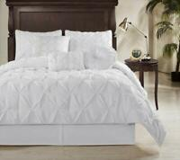 """8pc White Pintuck Pleated """"REMOVABLE COVER"""" Down Alternative Comforter Set King"""