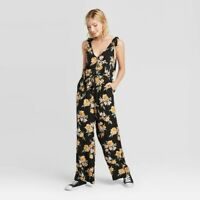 Women's Floral Print Sleeveless V-Neck Button-Jumpsuit - Xhilaration Black XXL