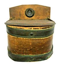 Colonial era 1780 Antique Primitive Copper & Round Wooden Bentwood Pantry Box