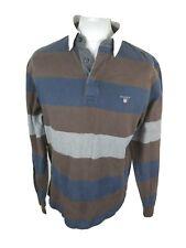 Gant Para Hombre Manga Larga Camiseta Polo Rugby Brown raya grande 44 pecho