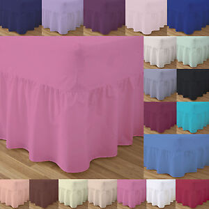 Frilled Fitted Valance Sheets Bed Double Single Super King Size Dyed Pillow Case