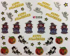 Halloween Nail Art Pegatinas Transferencias fantasmas Gatos calabazas Esmalte En Gel (E058)