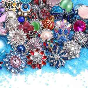 50pcs 18mm Snap Button Top Rhinestone Multi Metal Charms For Snap Jewelry HM076