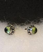 Silpada P1401 925 Sterling Silver and Green Peridot Post (Petite) Earrings, EUC
