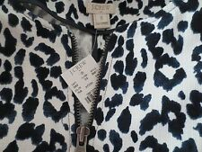 NEW J.CREW WOMENS LEOPARD MOTO JACKET Zippers WHITE BLACK SIZE S