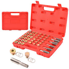 114PCS Oil Pan Thread Repair Tool Set Sump Gearbox Drain Plug Key w/ Carry Case