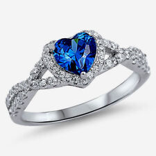 USA Seller Infinity Heart Ring Sterling Silver 925 Jewelry Blue Sapphire Size 8