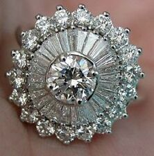 Sterling Silver Wedding Women Fashion Ring Round & Baguette Cut White Stone 925