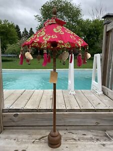 Bali Umbrella Tabletop Fabric Parasol Indonesia Woven Carved Wood 43 in Choice