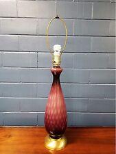 VINTAGE TABLE LAMP Italian 1960s Murano Purple  Amethyst MID CENTURY MODERN