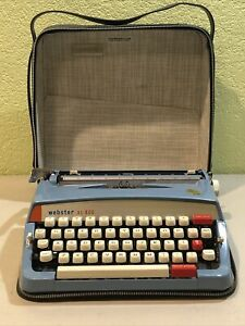 Rare 1960's WEBSTER XL-800 BROTHER  PORTABLE BLUE TYPEWRITER WITH CASE NICE