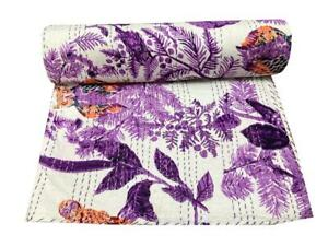 Indian Handmade Owl Print Kantha Quilt Large Bedding Purple Blanket King Quilt