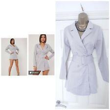 Missguided BNWT Sexy Grey Tux Tuxedo Blazer Wrap Long Sleeve Belted Playsuit 10