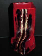 Bohemian Red and Multi-Color, Hand Blown Twisted Square Vase Engraved Signature.