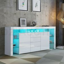 Sideboard Buffet Table Storage Cabinet Gloss Cupboard 2 Doors 4 Drawers White
