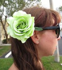 Light Green Rose Hair Flower Pin PinUp Rockabilly Retro Glam Vtg Style