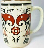 Aztec Indian Pattern Art Pottery Coffee Cup Mug stone Ceremonial Birds
