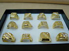 12-PCs Hot Sale Fashion Gold Plated Men's Rings Mens Pimp Jewelry Assorted Sizes