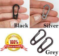 Small CARABINER CLIPS ~ 25mm, 30mm Long ~ BLACK, SILVER, GREY Keyring Snap Hooks