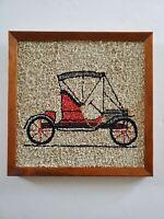 Vtg Gravel Pebble Art Mid Century Antique Car