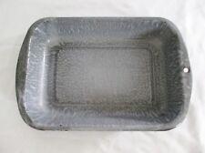 VINTAGE GRAY MOTTLED GRANITEWARE ENAMELWARE BAKING 13x9 ROASTING PAN w/HANDLES