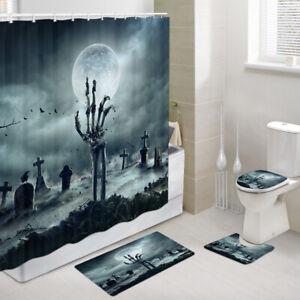 Graveyard hand bones Shower Curtain Toilet Cover Rug Mat Contour Rug Set