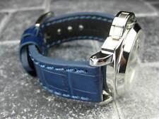 New BIG CROCO 20mm Blue LEATHER STRAP Blue Stitch watch Band OMEGA Seamaster