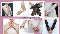 Wedding Gloves Fingerless Rhinestone Lace Satin tulle Bridal Gloves Prom Party