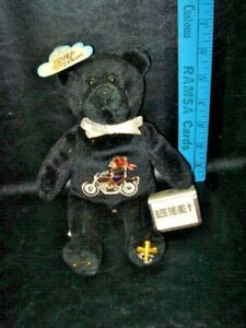 """Christian Motorcyclists Holy Bear Black Stuffed Bear New Embroidered 9"""" Tall"""