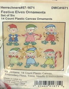Herrschners Christmas Plastic Canvas Needlepoint Kit Festive Elves Ornaments