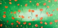 POPPIES ABSTRACT CANVAS PAINTING LIME GREEN ORANGE WILD DIVINE STUDIO