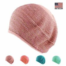 Womens Summer Spring Metallic Two Tone Knit Slouchy Beanie Beret Packable Hat