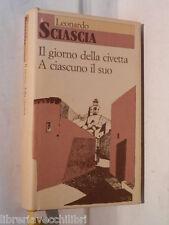IL GIORNO DELLA CIVETTA A CIASCUNO IL SUO Leonardo Sciascia CDE 1990 libro di