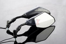 Honda Dominator PCX125 FJS600 Silver Wing 10mm INTEGRATED LED MIRRORS Carbon
