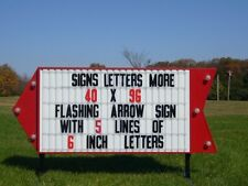 "NEW FLASHING ARROW LIGHTED OUTDOOR BUSINESS SIGN W/ 6"" LETTERS AND STANDS"