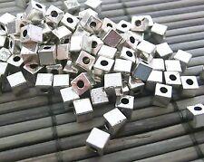 Großpackung Sonderposten 500 Metallperlen 3mm Quadrat Spacer Farbe silber #S598