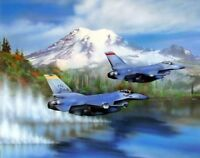 F-16s Military Jet Fighter Aircraft Over Water Aviation Art Print Picture (8x10)