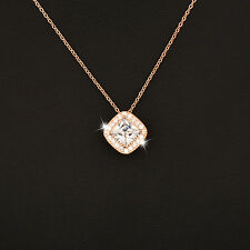 2 Color Elegant Princess Square Crystal Pendant Necklace For Women Wedding Party