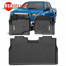 All Weather Floor Mats Floor Liners for 2015-2019 Ford F-150 SuperCrew Cab Black