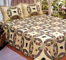 BLACK BEAR **Queen** QUILT SET LODGE CABIN TEA DYED RED PLAID WEDDING RING NEW